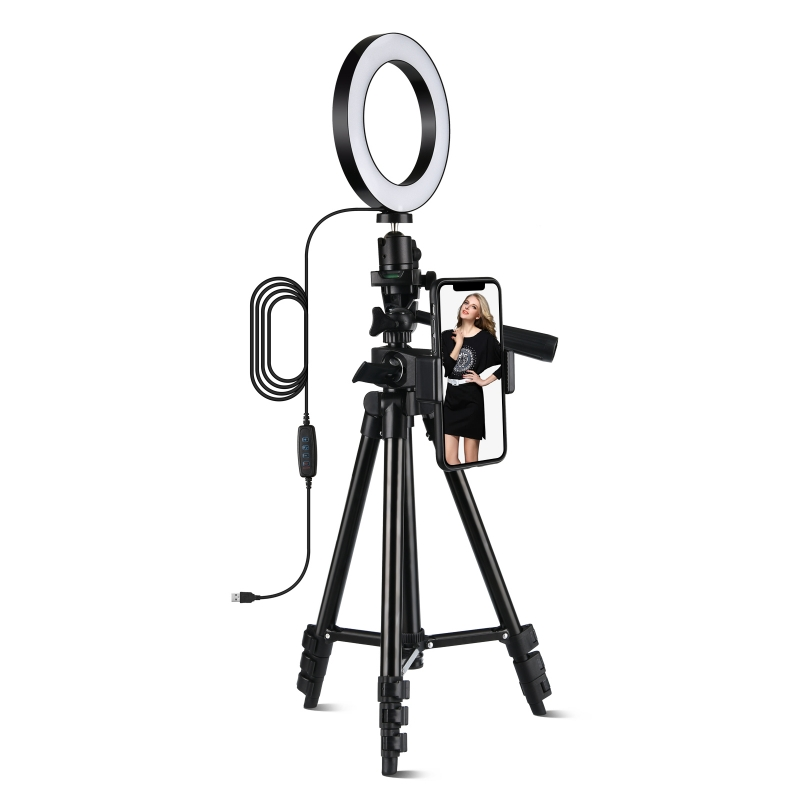 6'' Inch LED Selfie Ring Light Dimmable with Tripod Stand & Cell Phone Holder
